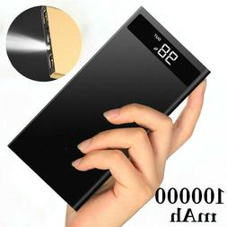 100000mAh Metal Slim LCD LED Travel Portable Power Bank Dual