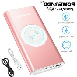 10000mAh Qi Wireless Power Bank Portable Charger with Type C