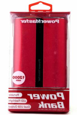 PowerMaster 12000 mAh Rechargeable Power Bank Red Portable L