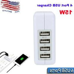 15W 3.1A 4-Ports USB Portable Home Travel Wall Charger US Pl