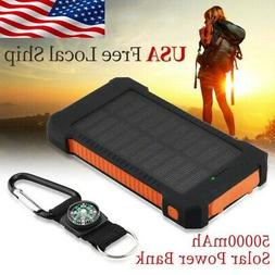50000mAh Solar Charger Dual USB Battery Power Bank Portable