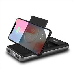 20000mAh Qi Wireless Charger Stand Power Bank 2USB LCD Porta