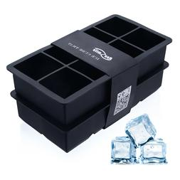2x ICE Maker Large Cube Square Tray Molds Whiskey Cocktails