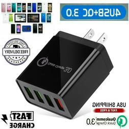 4 Port USB Home Wall Fast Charger QC 3.0 for Cell Phone iPho