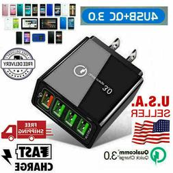 4 Port  Quick Charge 3.0 USB HUB Wall Charger Adapter US Plu