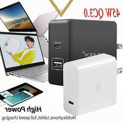 45W USB-C QC3.0 Fast Charging Charger PD Laptop Portable Typ