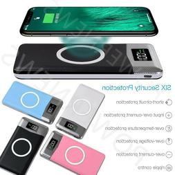 900000mAh Power Bank Qi Wireless Charging 2 USB LCD LED Port