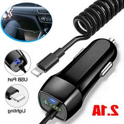 Car Charger For iPhone 11 X XS 7 8 Lightning Fast Charging W