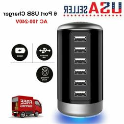 6-Port USB Portable Desktop Travel AC Charger Power Adapter