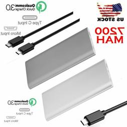 7200mA 2A Power Bank QC 3.0 Quick Charger USB-C Type C Exter