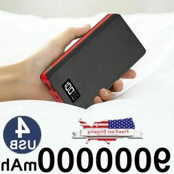 900000mAh 4USB External Portable Power Bank LCD LED Charger