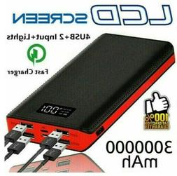 900000mAh Portable Power Bank 3 USB LED Fast External Backup