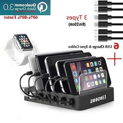 COSOOS Fastest Charging Station with QC 3.0 Quick Charge,6 U