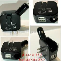 Portable Dual USB 5V 2.1A Car And Wall Charger Combo  2 in 1