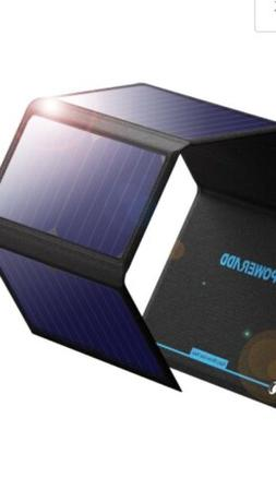 Poweradd Foldable Solar Charger Dual USB 24W Solar Panel Pho