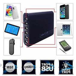 BargainPort Universal Black Color 6 Port USB Portable Home W