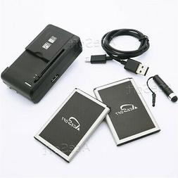 Brand NEW 2x 3220mAh Battery Portable Charger Cable Pen f LG