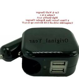 Dual USB Car and Wall Charger Combo Compact 2.1A Portable Un