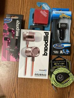 Cell Phone Accessories Lot Aux, Portable Charger, Headphones