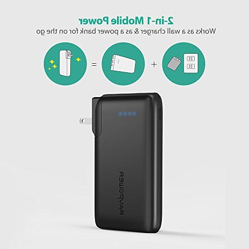 Portable Charger RAVPower 2-in-1 with Plug, iSmart USB Ports, 3.4A Max iPhone XS, iPhone iPad, More