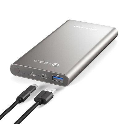 10000mAh Power Bank 3.0 Type C External Portable Battery