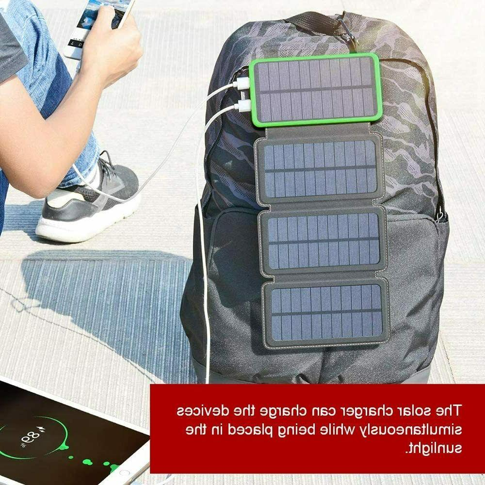 12000mAh Solar Charger Portable Outdoor Power Bank with 4 So
