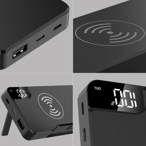 300000mah qi wireless charger stand power bank
