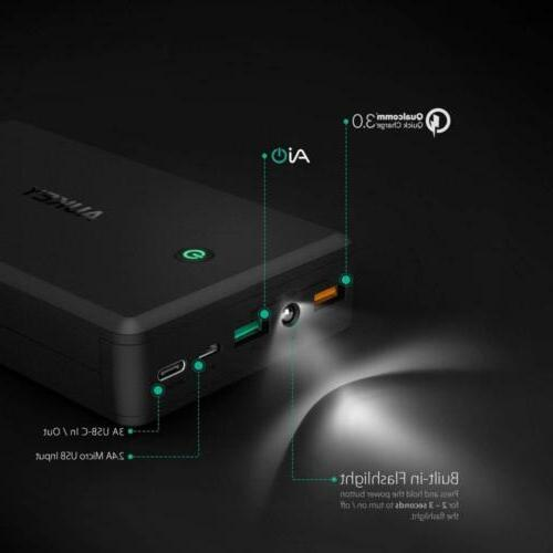 AUKEY 30000mAh Portable Charger Quick Charge 3.0 Power Bank,