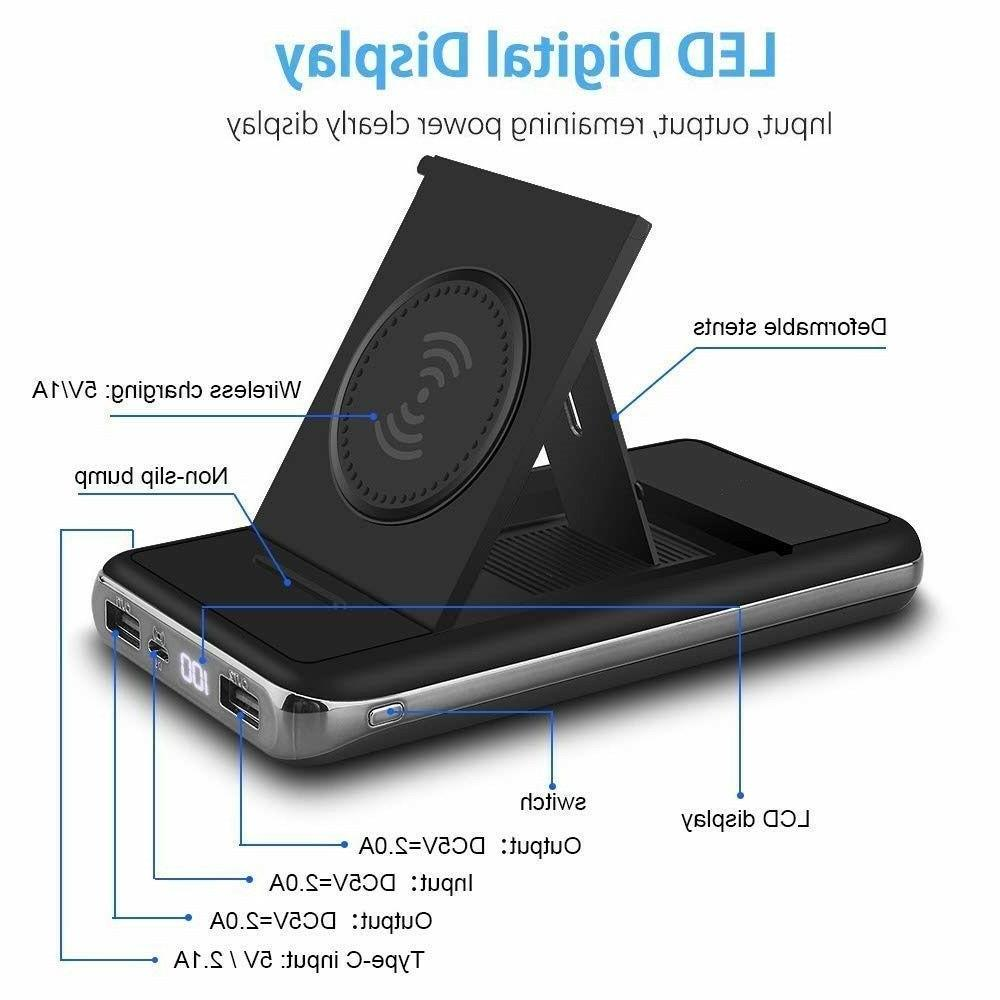 900000mAh Wireless LCD Portable Charger