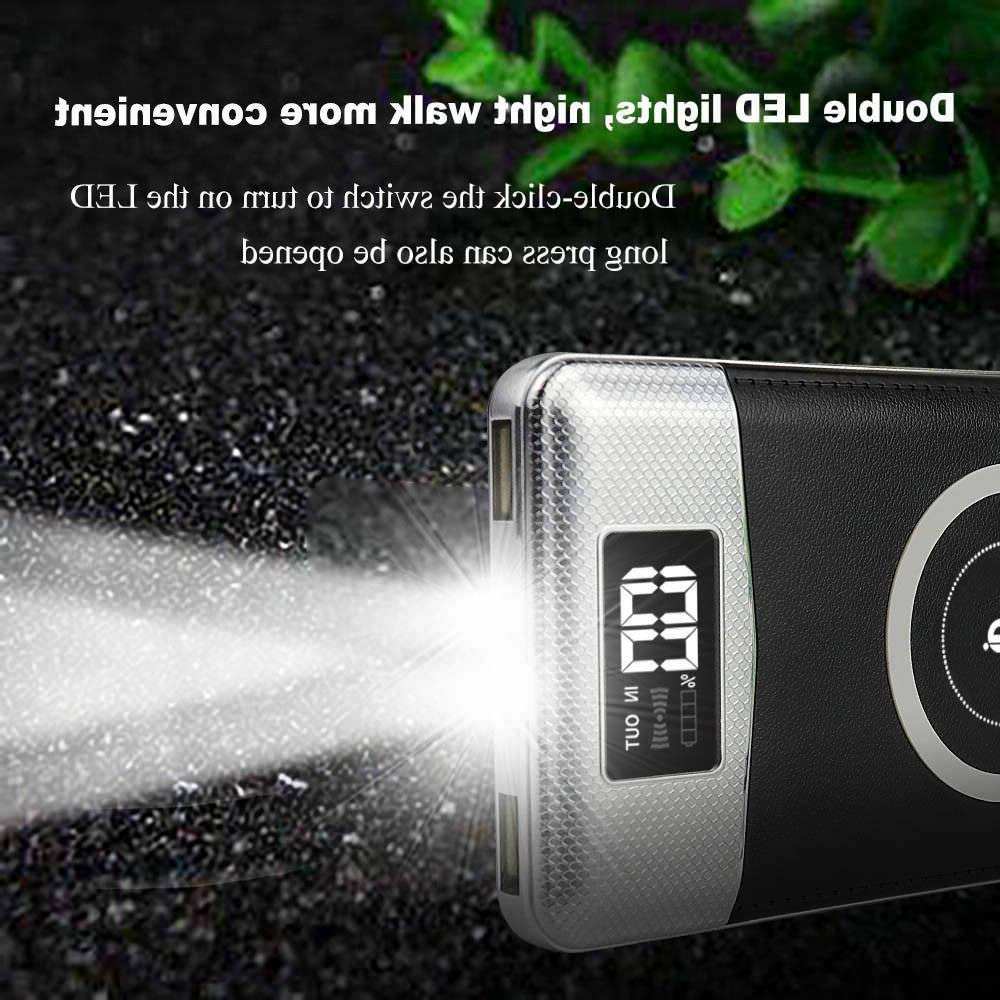 500000mAh Wireless Charging 2 USB LCD LED Portable Charger