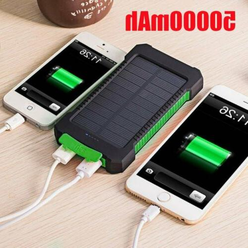 50000mAh Portable Solar Charger Dual USB Battery Power Bank