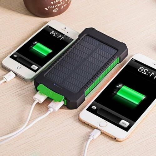 50000mAh Power Bank Waterproof Dual USB Portable Solar Batte