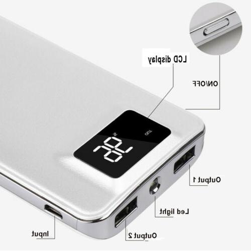 900000mah Portable Power LCD LED 2 Battery Charger Phone