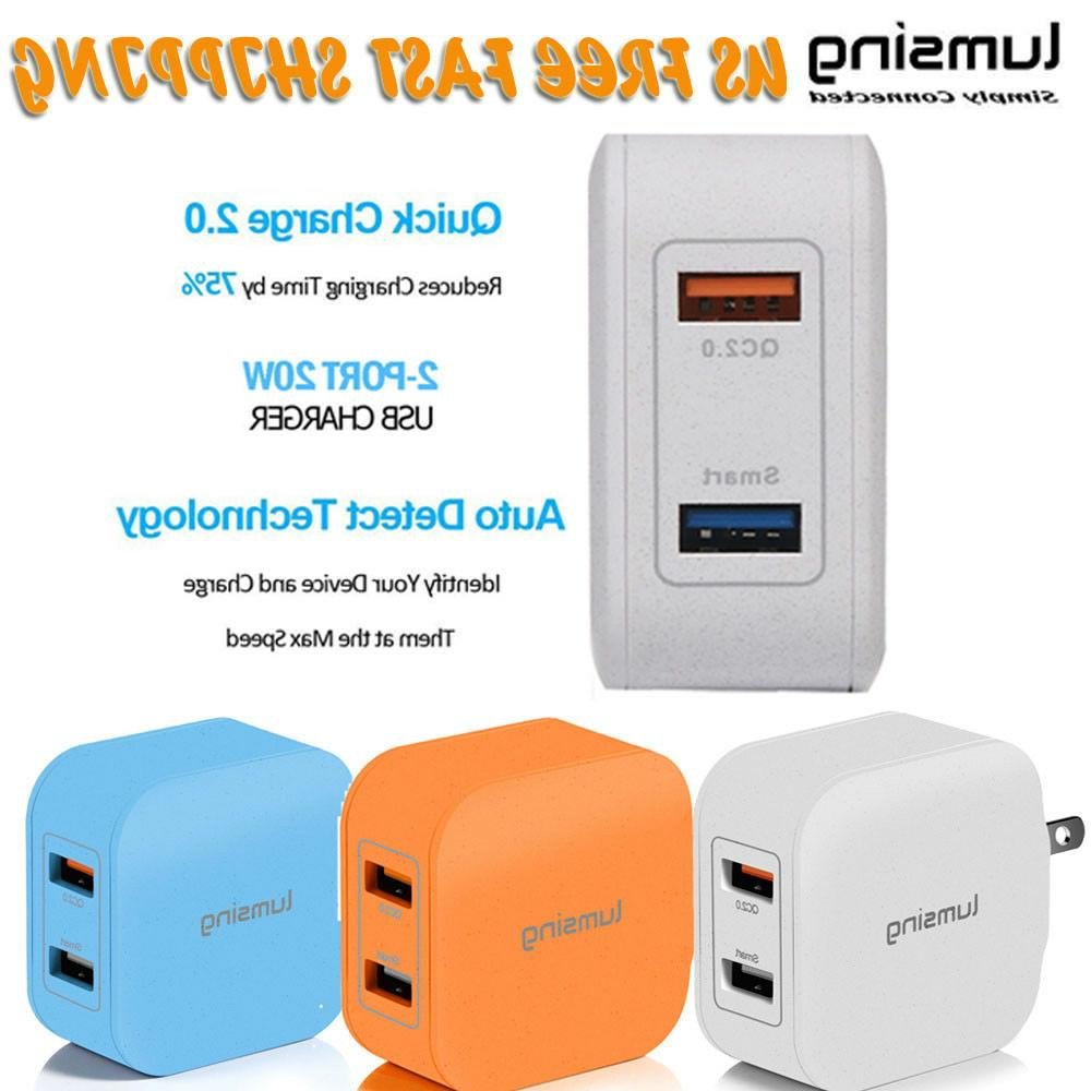 Dual USB Wall Charger Adapter QC 2.0 20W 4A Portable Hub For