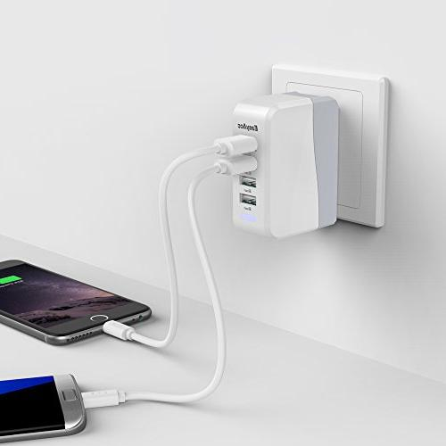 EasyAcc 20W 4A USB Charger with Folding Plug and Smart Technology Travel Charger iPhone 6 Samsung S6 Tab