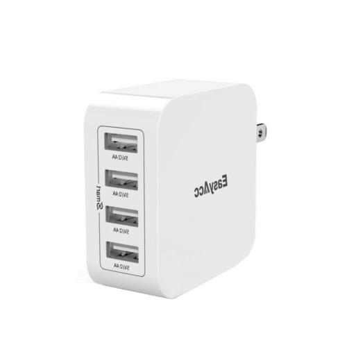 EasyAcc 40W 8A Wall Charger 4-Port USB Travel Charger with F