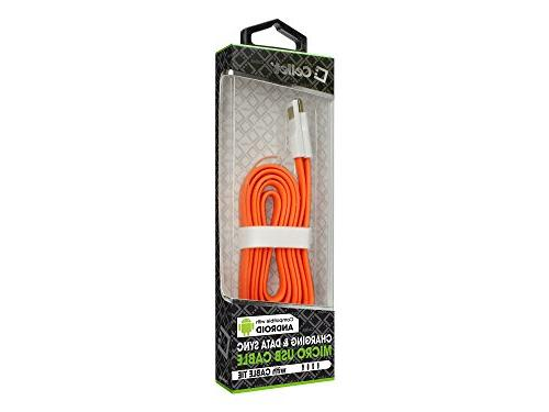 For USB Transfer And Charging Orange Flat Tangle Free