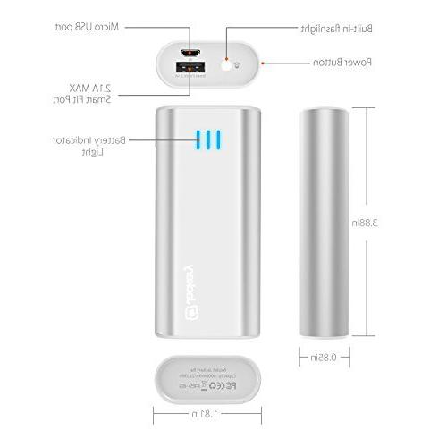 mAh External - Charger Power Bank with Panasonic Battery and Aluminum Shell for Galaxy Other Devices