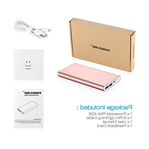 POWERADD Pilot 4GS 12000mAh Portable Battery High-Speed iPhone, iPad, iPod, Samsung and - Rose Gold