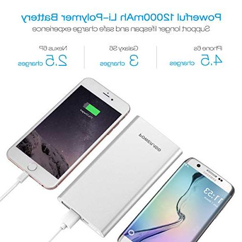Poweradd Pilot Portable Battery Charger High-Speed Output iPhone, iPad, Samsung More - Silver
