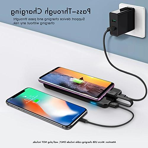 miraku 5000mAh Bank USB Phone Charger C Ports External Galaxy S8/Note 8,LG X and Android