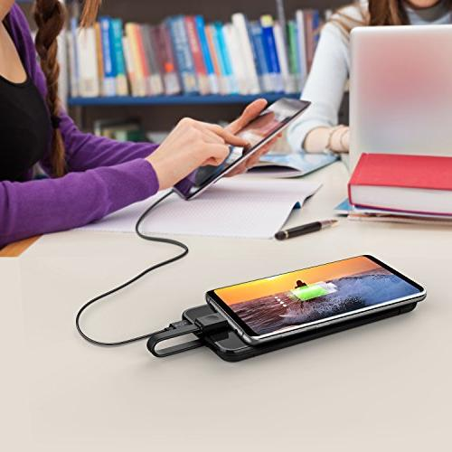 miraku Slim Bank USB C Portable Phone Charger C Ports Battery Galaxy S8/Note G6,iPhone X and Android