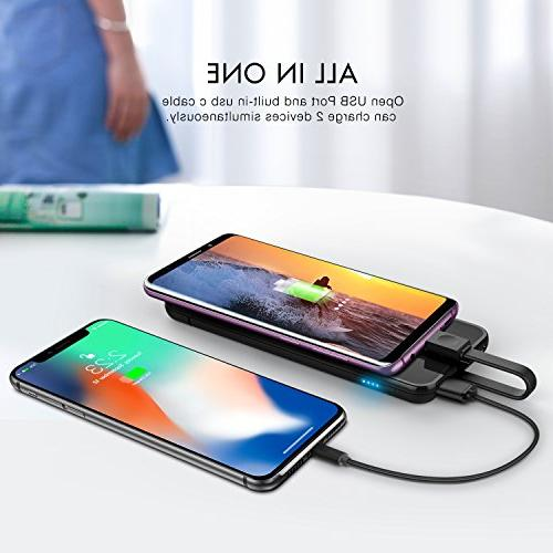 miraku Bank USB C Phone Charger with C Cable,2 Ports External Battery Pack for Samsung Galaxy S8/Note 8,LG X