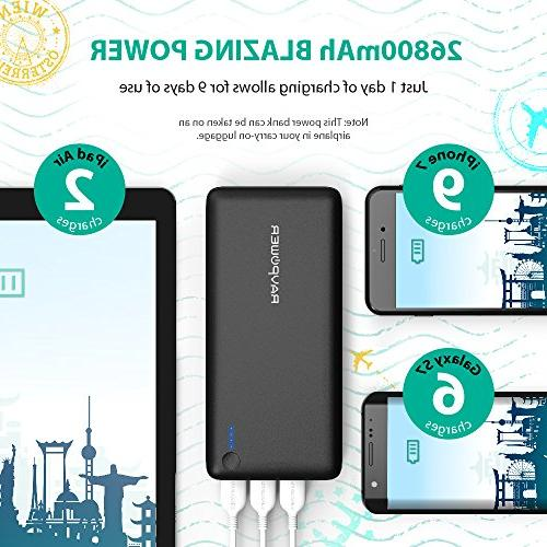 RAVPower 26800mAh Total 5.5A Output 3 Ports Bank