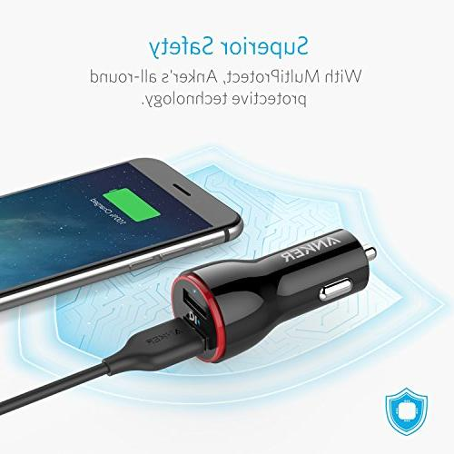 Anker 24W Dual Car Charger, PowerDrive for Xs/XS / / 2 Mini, Note 5/4, LG, and