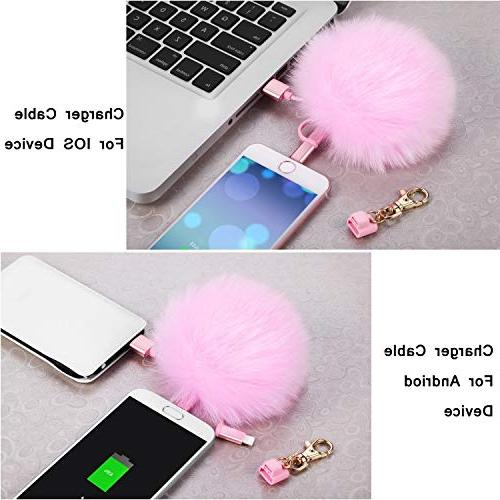 Fox Fur Pom Pom Keychain Cable, 3in1 USB Cable iPad Samsung Android C Charging Handbag as Emergency Charging