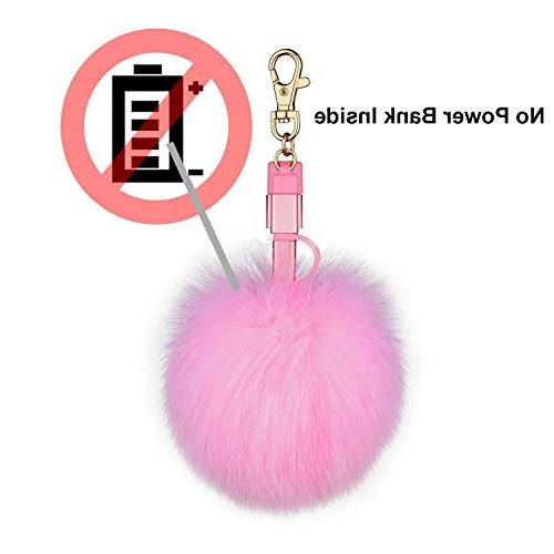 Fox Ball Pom Keychain 3in1 USB Multi Cable iPad Android C Charging Handbag Purse Charms Emergency Charging Cable