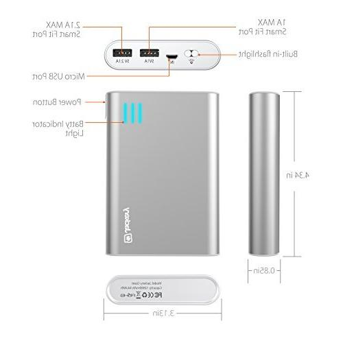 Portable High Capacity External Battery Backup Output 5C, 4S, 4, iPad Air, 2, Mini, S2, Note One, EVO, Droid Motorola Moto Droid, Google Glass, Nexus 4, Nexus Optimus, HD+, GoPro more; Premium Samsung Battery Cell and