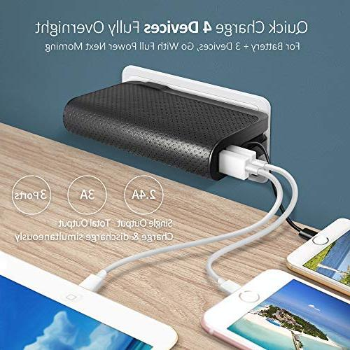 Luxtude 3-in-1 Portable Foldable Plug, Certified Lightning Cable&Dual Ports Bank iPhone, iPad and More.