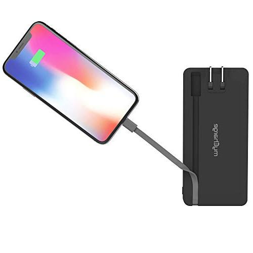 myCharge Portable Charger 8000mAh Bank Charger, Apple Lightning Cable, USB-A Port, Foldable Wall